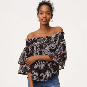 a35f3161409fd LOFT Tops - NWT Ann Taylor LOFT Velvet Trim Off Shoulder Top